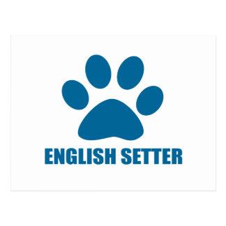 ENGLISH SETTER DOG DESIGNS POSTCARD