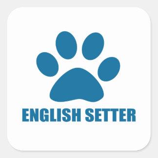 ENGLISH SETTER DOG DESIGNS SQUARE STICKER