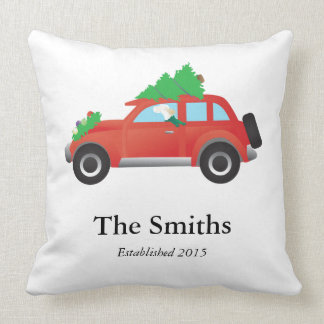 English Setter Dog Driving a Car - Tree on Top Throw Pillow