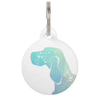 English Setter Dog Geometric Silhouette - Pastel Pet Tag