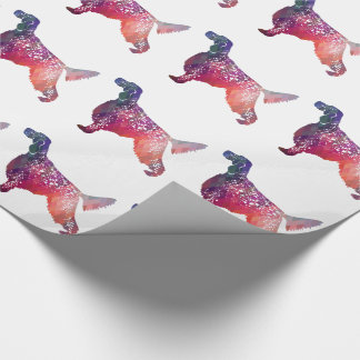 English Setter Dog Geometric Silhouette - Pink Wrapping Paper