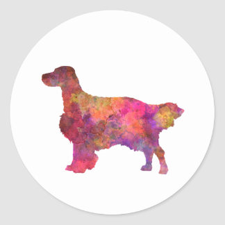 English Setter in watercolor Classic Round Sticker