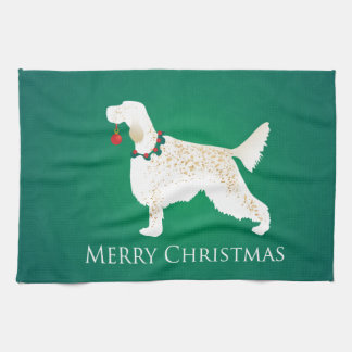 English Setter Merry Christmas Design Kitchen Towel