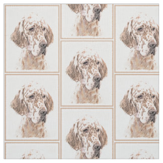 English Setter Orange Belton Painting Dog Art Fabric