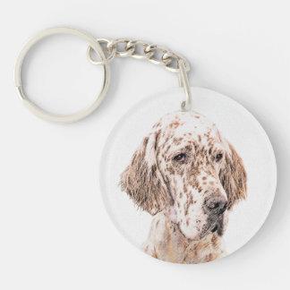 English Setter Orange Belton Painting Dog Art Keychain