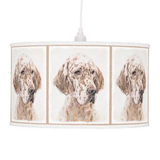English Setter Orange Belton Painting Dog Art Pendant Lamp