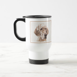 English Setter Orange Belton Painting Dog Art Travel Mug