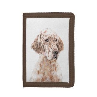 English Setter Orange Belton Painting Dog Art Tri-fold Wallet