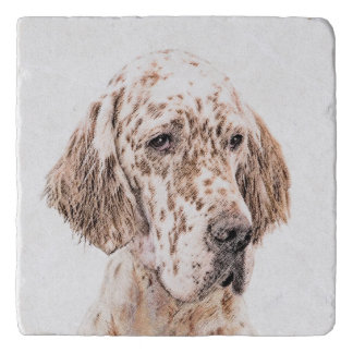 English Setter Orange Belton Painting Dog Art Trivet