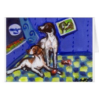 English Setter Pointers sense smiling moon Card