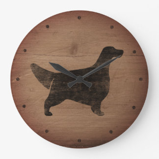 English Setter Silhouette Rustic Style Large Clock
