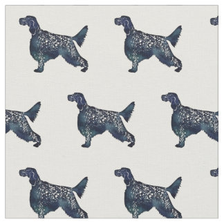 English Setter Silhouette Tiled Fabric - Black WC
