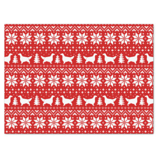 English Setter Silhouettes Christmas Pattern Red Tissue Paper