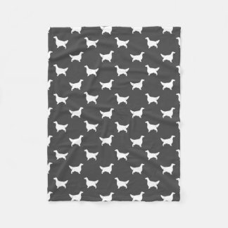English Setter Silhouettes Pattern Grey Fleece Blanket