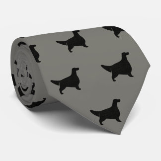 English Setter Silhouettes Pattern Grey Tie