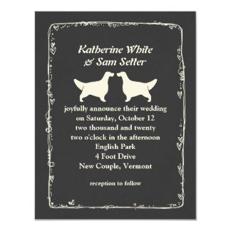 English Setter Silhouettes Wedding Card
