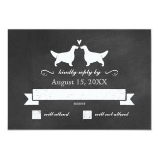 English Setter Silhouettes Wedding Reply Card