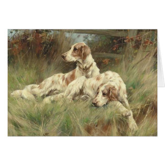 English Setters Resting in the Field, Card