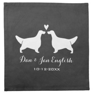 English Setters Wedding with Custom Text Napkin