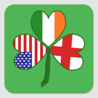 English Shamrock Square Sticker