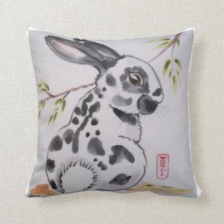 English Spot Bunny Rabbit Pillow, Oriental Design Throw Pillow