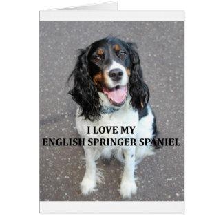 english springer spaniel black white tan love with card