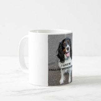 english springer spaniel black white tan love with coffee mug