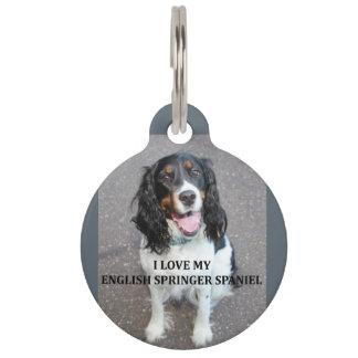 english springer spaniel black white tan love with pet name tag