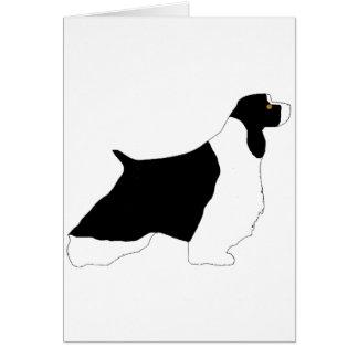 English Springer Spaniel black white tan silo Card
