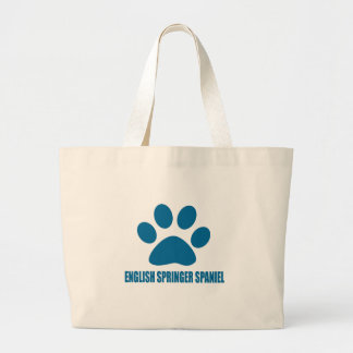 ENGLISH SPRINGER SPANIEL DOG DESIGNS LARGE TOTE BAG