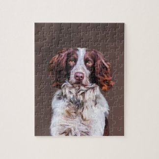English Springer Spaniel Dog Oil Painting Portrait Jigsaw Puzzle