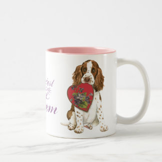 English Springer Spaniel Heart Mom Two-Tone Coffee Mug