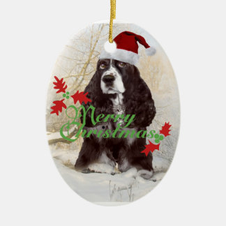 English Springer Spaniel Merry Christmas Ceramic Ornament