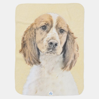 English Springer Spaniel Painting Original Dog Art Baby Blanket
