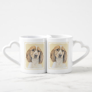 English Springer Spaniel Painting Original Dog Art Coffee Mug Set