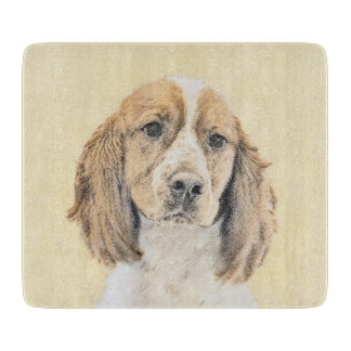 English Springer Spaniel Painting Original Dog Art Cutting Board
