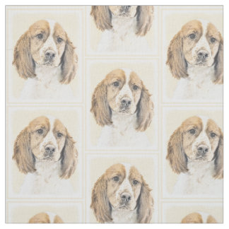 English Springer Spaniel Painting Original Dog Art Fabric