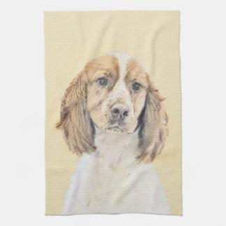 English Springer Spaniel Painting Original Dog Art Kitchen Towel