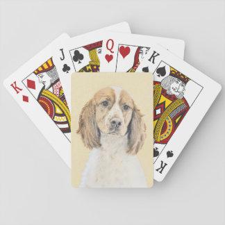 English Springer Spaniel Painting Original Dog Art Playing Cards