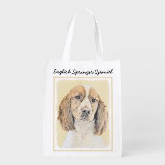 English Springer Spaniel Painting Original Dog Art Reusable Grocery Bag