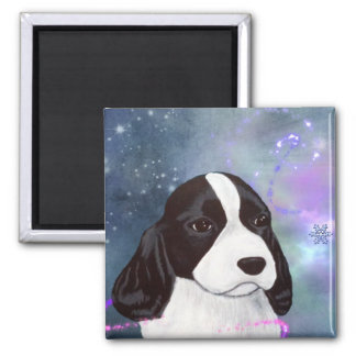 English Springer Spaniel Puppy Magnent Square Magnet
