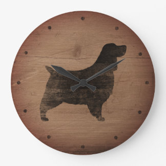 English Springer Spaniel Silhouette Rustic Style Large Clock