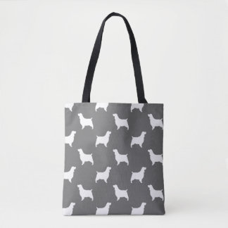 English Springer Spaniel Silhouettes Pattern Grey Tote Bag
