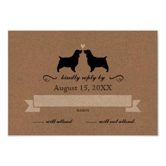 English Springer Spaniel Silhouettes Wedding RSVP Card