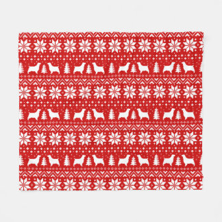 English Springer Spaniels Christmas Pattern Red Fleece Blanket