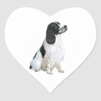 English SpringerSpaniel (A) - Black and white Heart Sticker