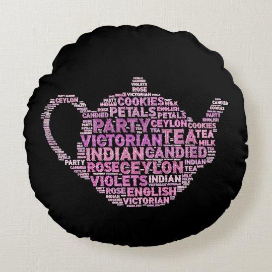 """English tea Polyester Round Throw Pillow (16"""")"""