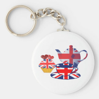 English Tea-time gifts Basic Round Button Keychain