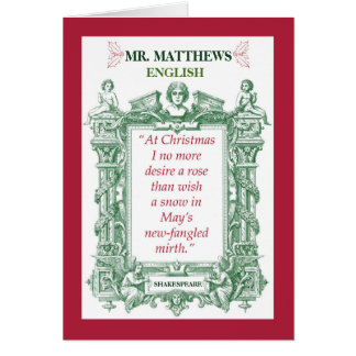 English Teacher Shakespeare Historical Christmas Card