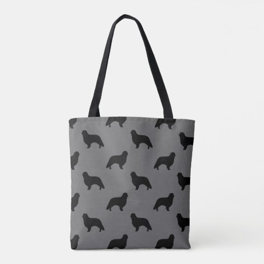 English Toy Spaniel Silhouettes Pattern Grey Tote Bag